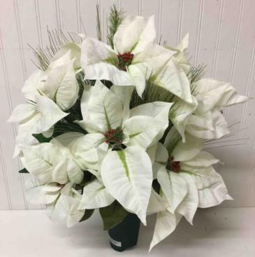 Artificial White Poinsettia Cemetery Can