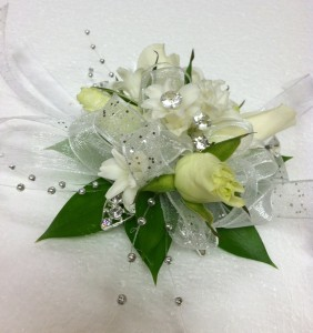 White Princess wrist corsage - medium size