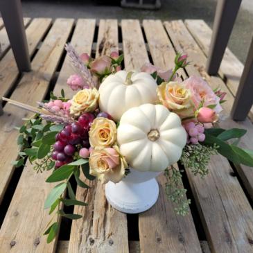 White Pumpkin Ceramic Pedestal Arrangement