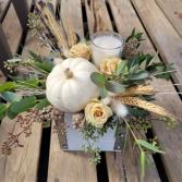 White Pumpkin Wood Box Arrangement