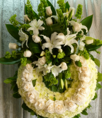 WHITE PURITY WREATH STAND WREATH FOR A SERVICE/MEMORIAL