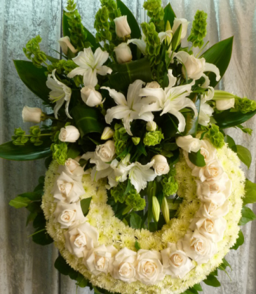 """45"""" WHITE PURITY WREATH STAND WREATH FOR A SERVICE/MEMORIAL"""