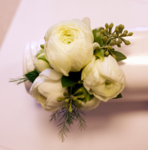 White Rannuculus Corsage