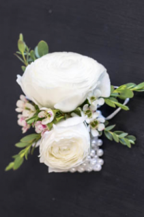 White Ranunculus Corsage with Pearl Band