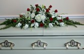 White & Red Casket Cover sympathy flowers