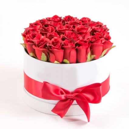 White & Red rose box  Roses