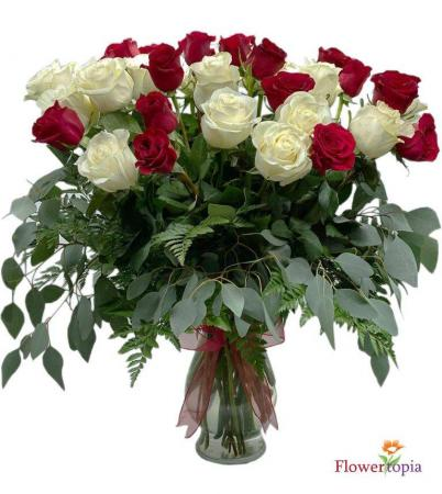 White & Red Roses Bouquet White and Red Roses Arrangement