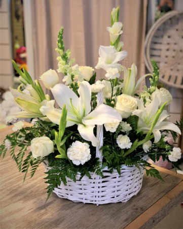 White Remembrance Basket Funeral Flowers