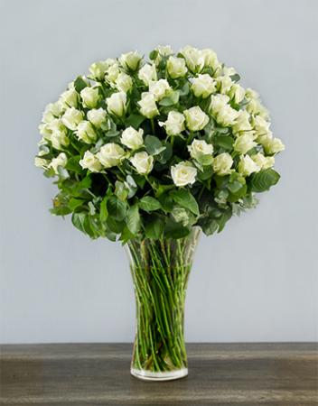 White Rose Abundance Roses Arranged