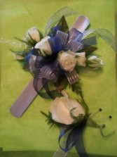 White Rose and Blue Delpinium  Wrist corsage