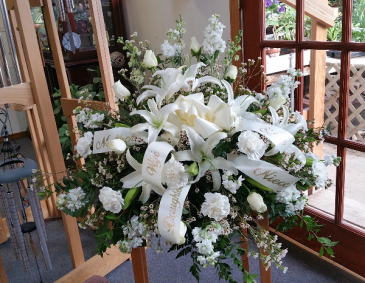 White Rose and Carnation Casket Spray