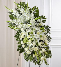White Rose and Lily Standing Spray Funeral / Sympathy