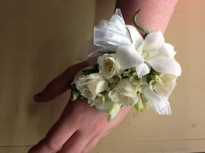 White rose and orchid Wrist Corsage