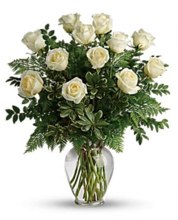 White rose arrangement  Vase