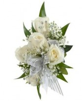 WHITE ROSE BLIZZARD WRIST CORSAGE