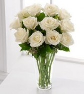 White Rose Bouquet 1 Dozen Roses