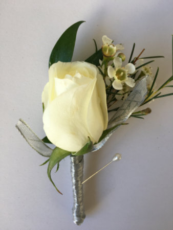White Rose Boutonniere Available in color of your choice