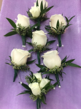 White Rose Boutonniere Boutonniere