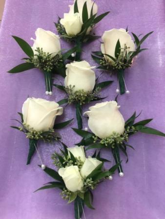 White Rose Boutonniere Boutonniere