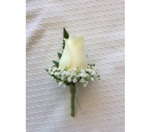White Rose Boutonniere Prom Flowers in Lock Haven, PA | INSPIRATIONS FLORAL STUDIO