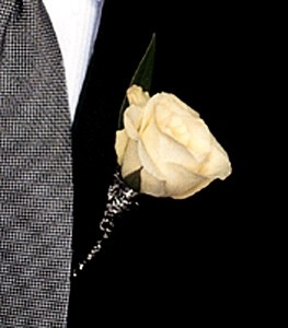 White Rose  Boutonniere with wire accent