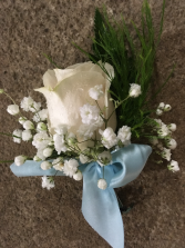 white rose boutonniere adorned ribbon white rose boutonnier