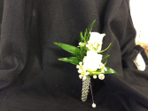WHITE ROSE BOUT WITH RHINESTONE STEM WRAP BOUTONNIERE