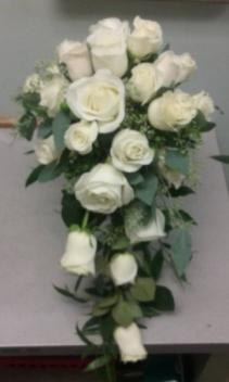 White Rose Cascade Custom Wedding Flowers