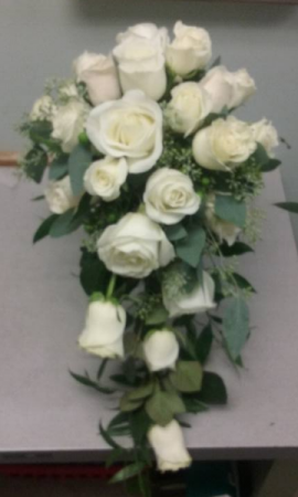 White rose cascade custom wedding flowers in leominster ma dodos white rose cascade custom wedding flowers mightylinksfo
