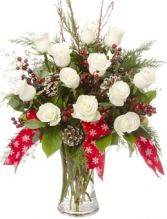 WHITE ROSE CHRISTMAS ARRANGEMENT