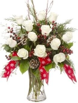 WHITE ROSE CHRISTMAS ARRANGEMENT