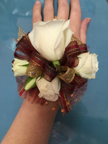 White Rose combo with Red and Gold Accents  Wristlet