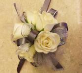 White Rose & Silver Corsage