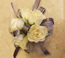 White Rose & Silver Corsage