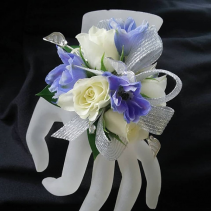 White Rose Corsage Blue Delphium Corsage