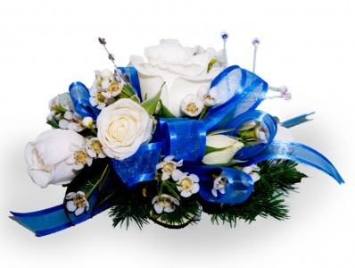 White Rose Corsage White Roses, Jewels and Blue Ribbon