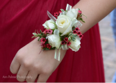 White rose corsage with your Accent color!