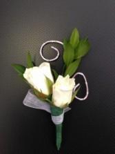 White Rose Diamond Wire Boutonniere