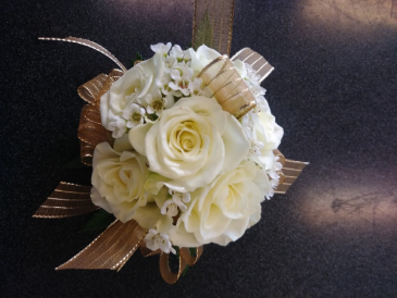 White Rose Gold Corsage