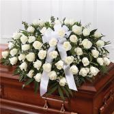 White Rose Half Casket Cover