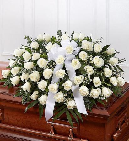 White Rose Half Casket Cover Casket Flowers