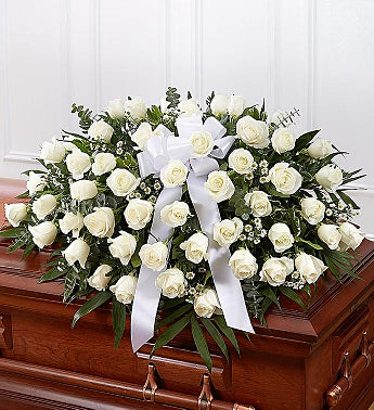 White Rose Half Casket Cover half casket all white