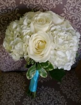 White Rose & Hydrangea Bridesmaid Bouquet Hand-Tied Bridesmaid Bouquet