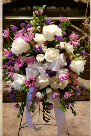 White Rose Lavender Love Standing Spray in Paris, KY | Chasing Lilies Floral