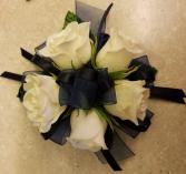 White Rose & Navy Corsage