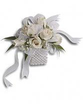 White rose prom corsage