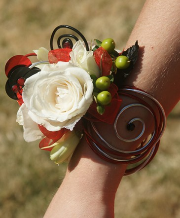 White Rose Prom Corsage Prom Flowers in Bowerston, OH - LADY OF THE LAKE FLORAL & GIFTS
