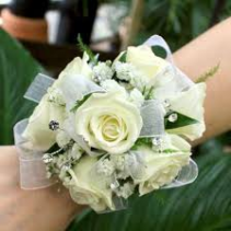 WHITE ROSE PURITY W/BLING CORSAGE/WRIST