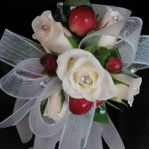 White Rose Red Berry Corsage Corsage