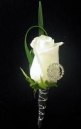 White Rose Rhinestone Wristlet